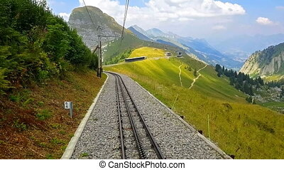 Riding down the cogwheel railway from Rochers de Naye, Switzerland
