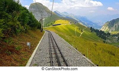 Riding down the cogwheel railway from Rochers de Naye, Switzerland