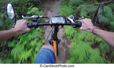 Riding Electric Bike on Nature Trail from First Person View...