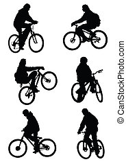 Riding - Vector image of cyclists. Saved format eps 8....