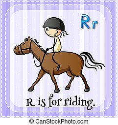 Riding - Flashcard alphabet R is for riding