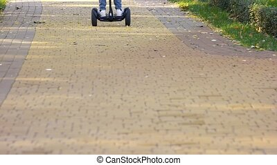 Riding gyroscooter on cobblestones.