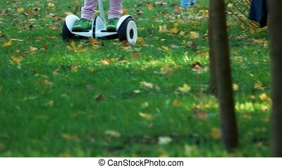 Riding gyroscooter outdoors on the grass. Child on gyroboard...
