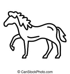 Riding horse icon, outline style