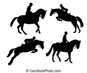 riding horse silhouette on white background