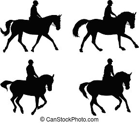 riding horses silhouettes set