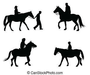 riding horses silhouettes
