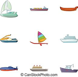 Riding in sea icons set, cartoon style