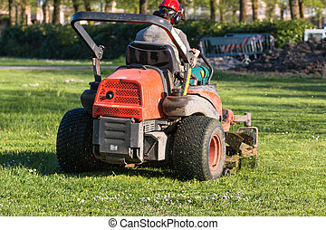 Riding Lawn Equipment with operator for periodically garden ...