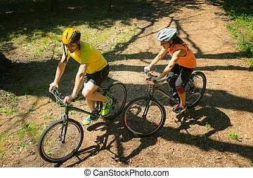 Riding mountain bikes