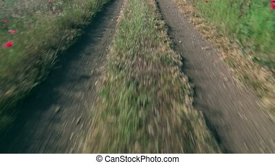 Riding on a dirt road through the field POV