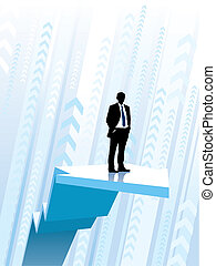 Riding on the graph - Businessman standing on a large...