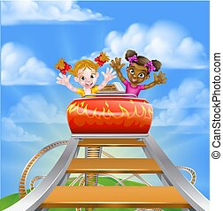 Riding Roller Coaster - Cartoon girls, one black one white,...