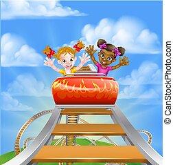 Riding Roller Coaster