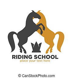 Riding school logotype with black and brown horses