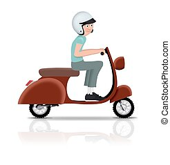 Riding Scooter - Illustration of a person riding a scooter