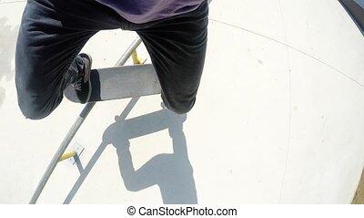 Riding Skateboard In Skatepark