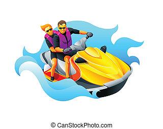 Riding ski jet - Happy couple enjoy riding ski jet in blue...