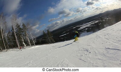 young man in motley outfit ride on snowboard at the ski resort 1080%u04451920 HD video