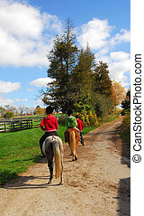 Riding - Children riding ponies on a countryside road