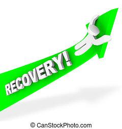 A figure rides a green arrow up symbolizing economic recovery