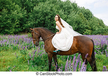 Riding the bride on the field