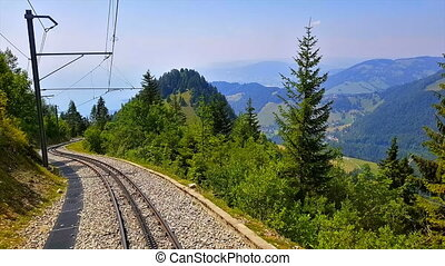 Riding the cogwheel railway to Rochers de Naye, Switzerland