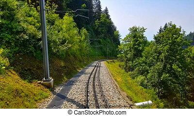 Riding the cogwheel railway to Rochers de Naye, Switzerland