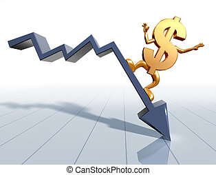 Riding the downturn - Illustration of a dollar symbol...