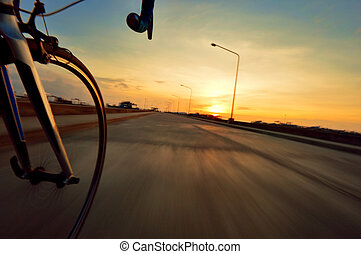 target - Riding to the target with motion blurr roadbike to ...
