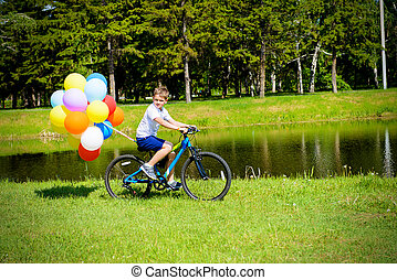 riding with balloons