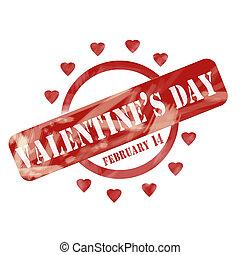 ridit ut, valentinkort, stämpel, design, hjärtan, cirkel, dag, röd