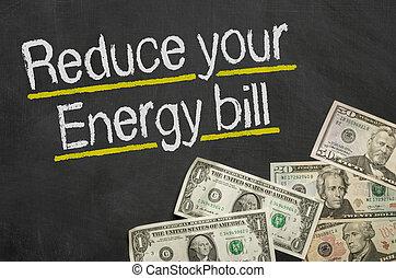ridurre, soldi, energia, conto, -, testo, lavagna, tuo