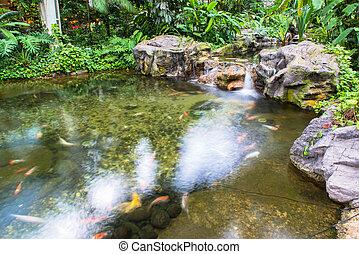 riegue fuente, parque, jardín, o