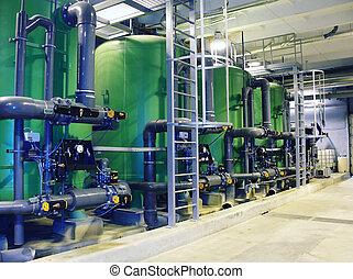 riegue tratamiento, tanques, en, central eléctrica