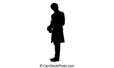 rien, courtier, silhouette, homme, hands., onduler, habillé