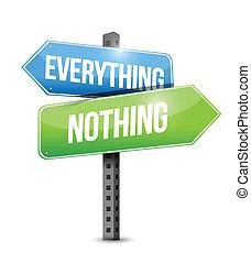 rien, tout, route, illustration, signe