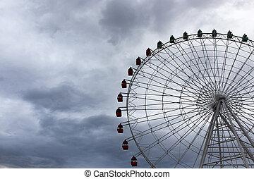 riesenrad, auf, der, hintergrund, von, wolkenhimmel