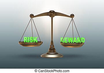 riesgo, escalas, concept-, interpretación, recompensa, 3d