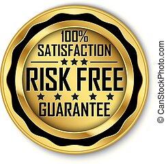 riesgo, oro, 100%, libre, satisfacción, vector, etiqueta, ilustración, garantía