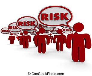 riesgo, peligro, gente, responsabilidad, hablar, discurso, burbujas
