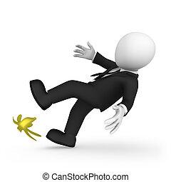 riesgo, slipped, concept., banana., hombre de negocios, ...