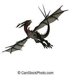 riesig, angriffe, feuerdrachen, terrifying, hörner, flügeln