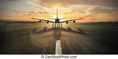 riesig, aus, gewerblich, nehmen, stockwerke, zwei, düsenverkehrsflugzeug