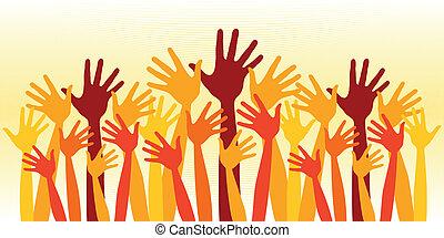 riesig, crowd, hands., glücklich