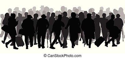 riesig, crowd, von, leute, silhouette