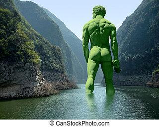 riesig, fluß, grün