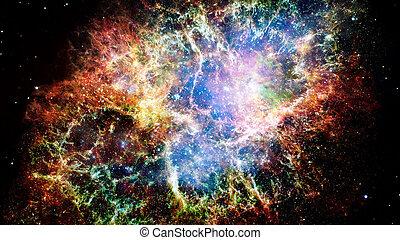 riesig, glühen, nebula., raum, hintergrund., elemente, von,...