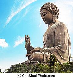 riesig, kong, kloster, lin, insel, hong, buddha/po, lantau
