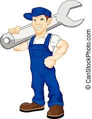 riesig, mechaniker, abhalten schraubenschlüssel